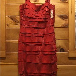 NWT Red Sleeveless Ruffle Tier Dress